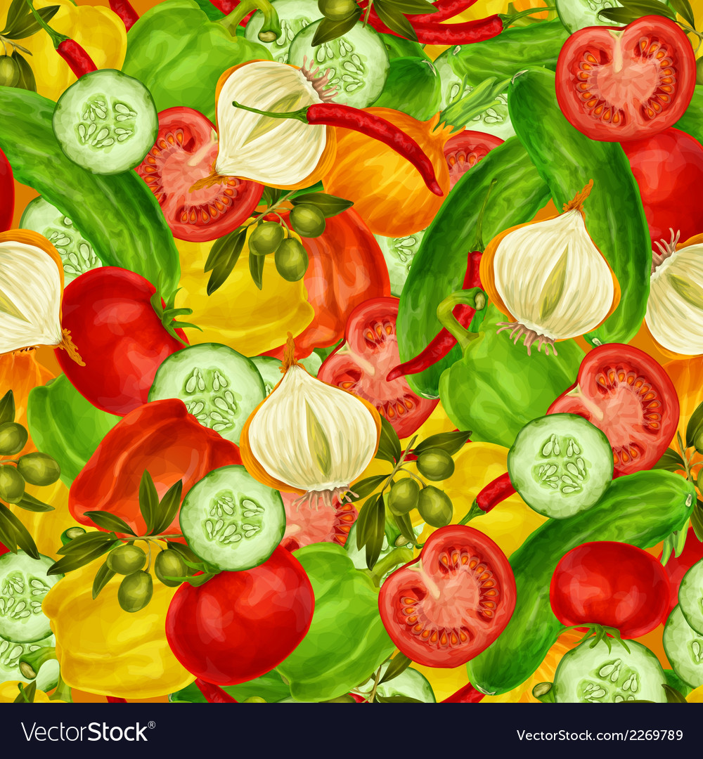 Vegetables seamless background vector | Price: 1 Credit (USD $1)