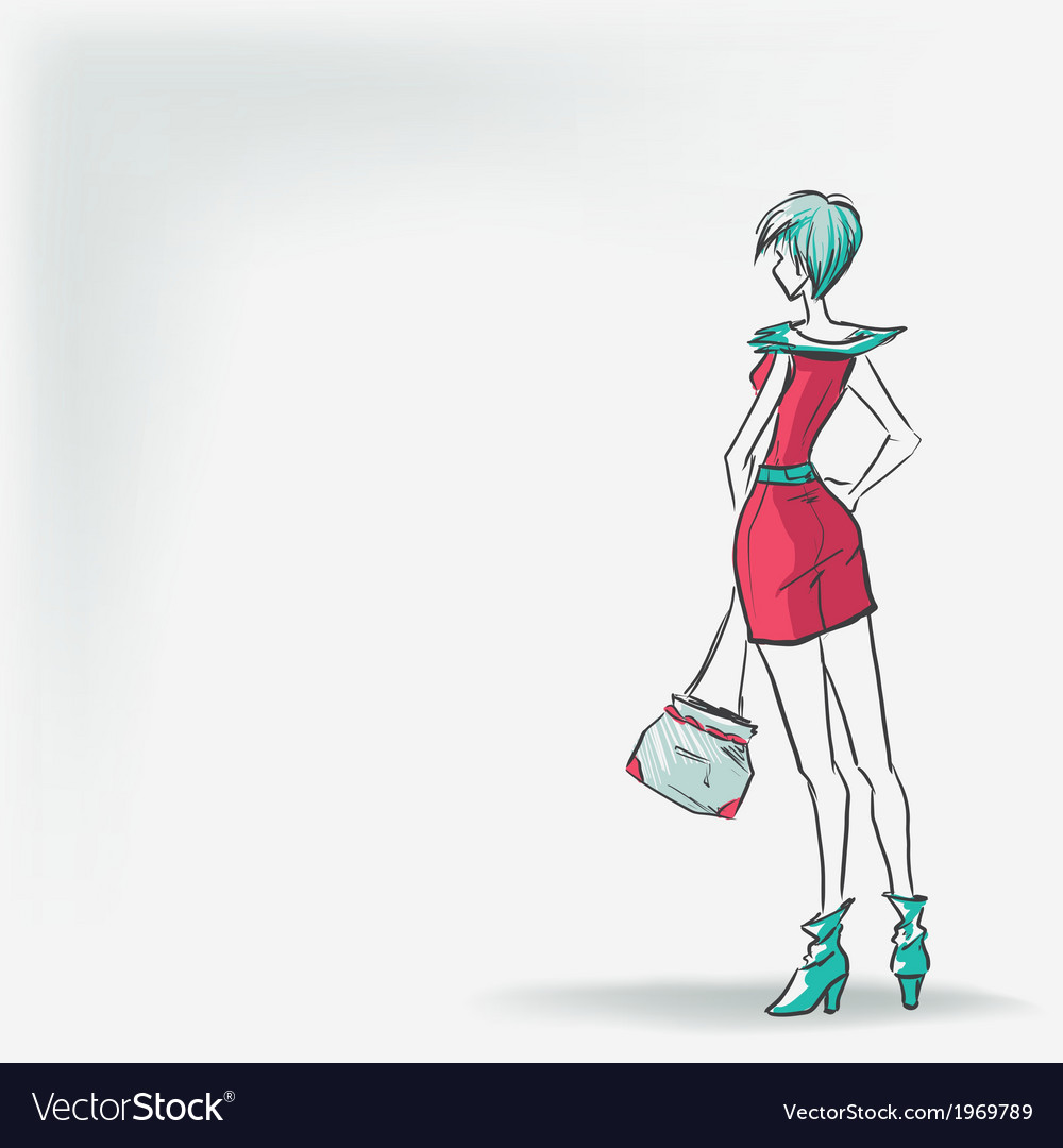 Woman in short red dress vector   Price: 1 Credit (USD $1)