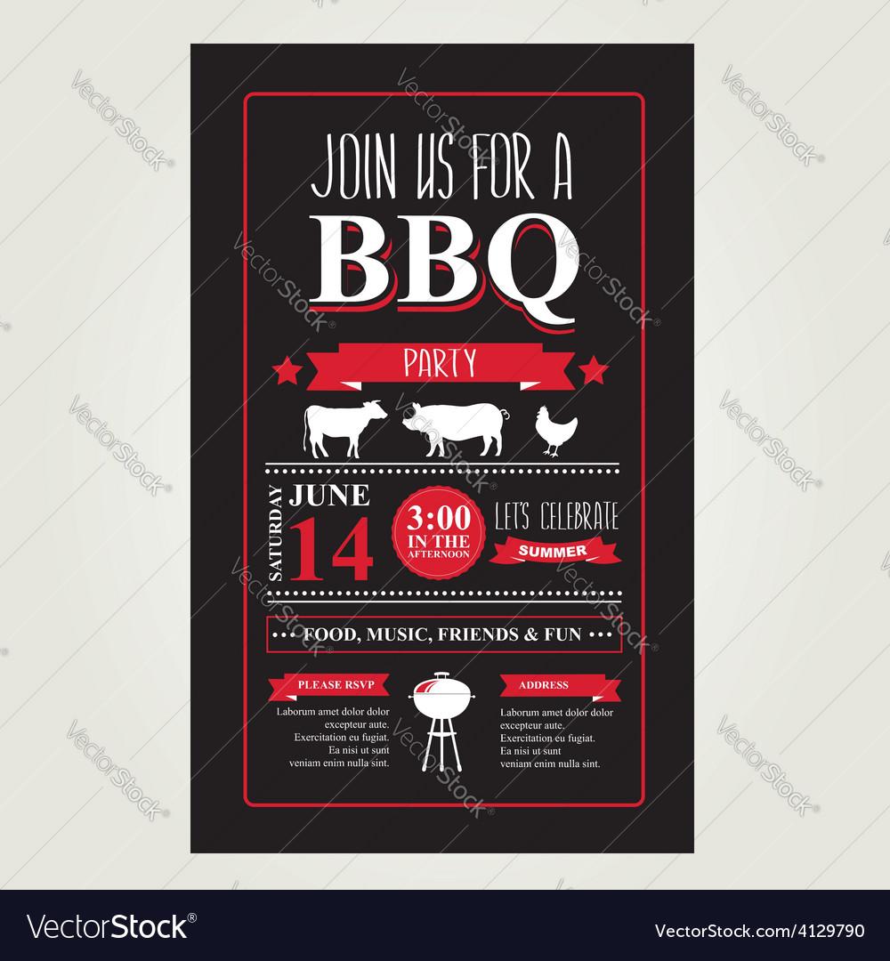 Barbecue party invitation bbq brochure menu design vector | Price: 1 Credit (USD $1)