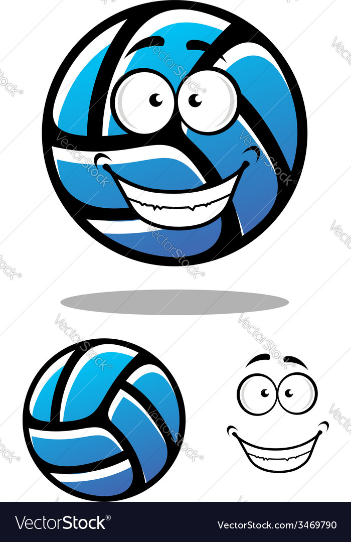 Cartoon blue volleyball ball character vector | Price: 1 Credit (USD $1)