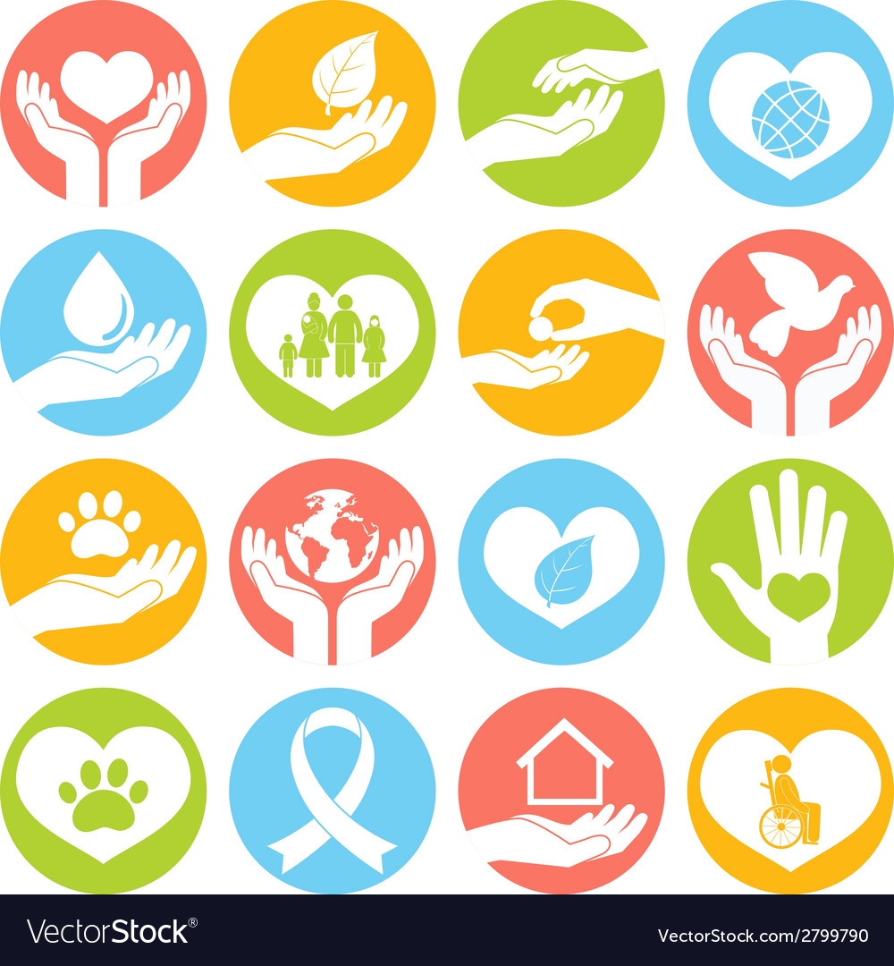 Charity and donation icons white vector | Price: 1 Credit (USD $1)