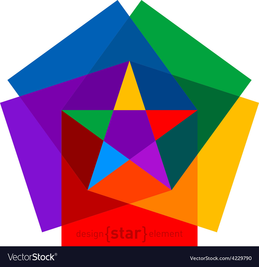Colorful star from cubes abstract design element vector | Price: 1 Credit (USD $1)