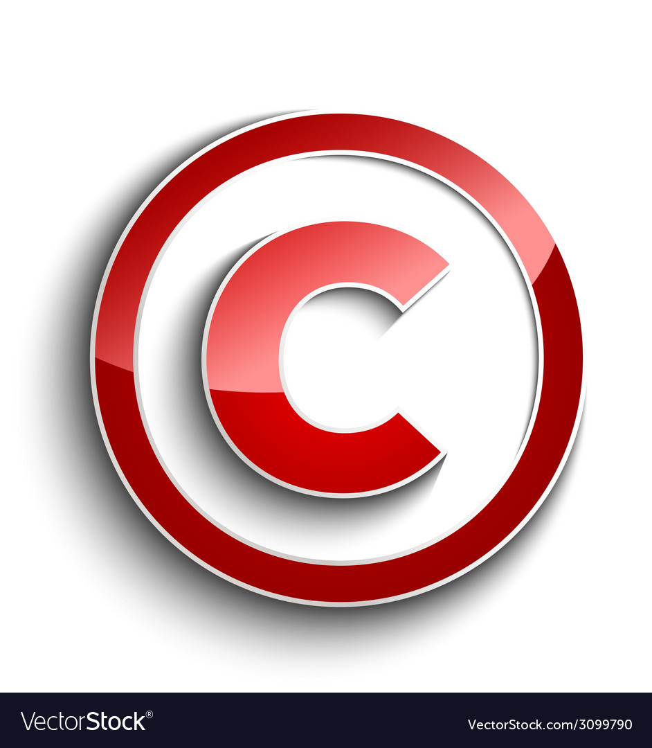 Copyright symbol with shadow effect isolated on vector | Price: 1 Credit (USD $1)