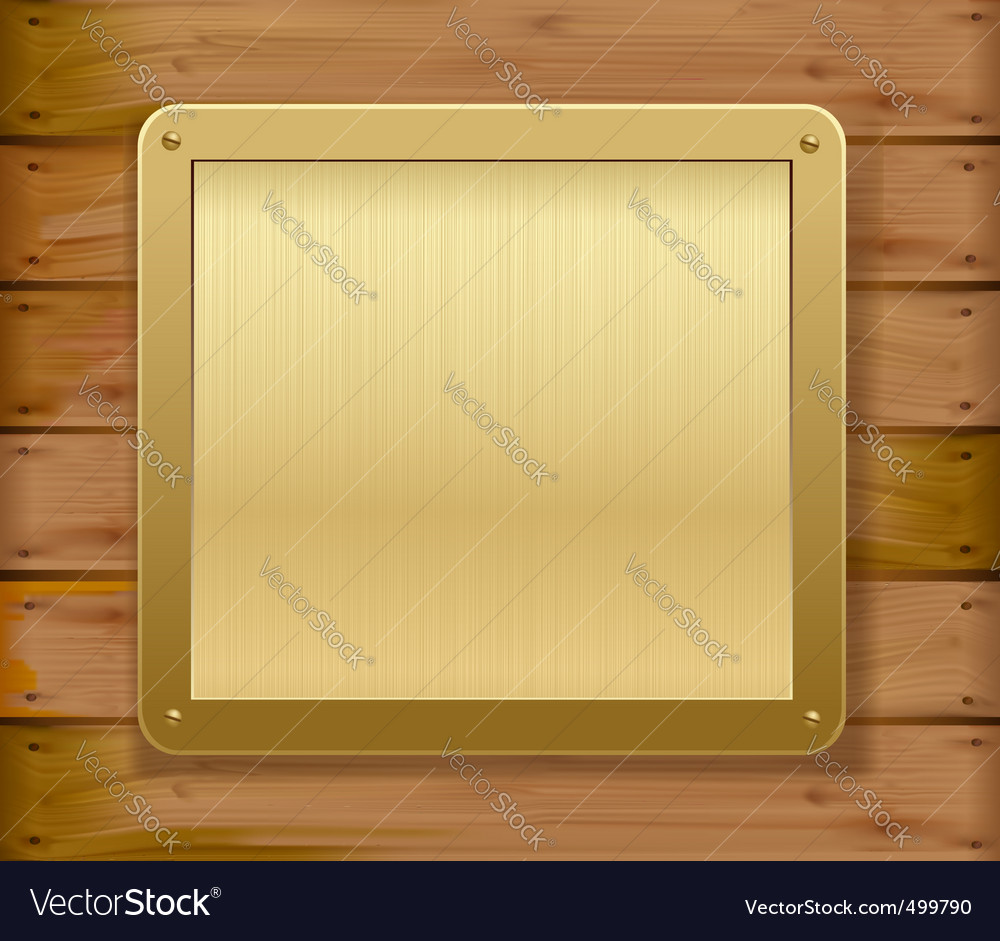 Gold metalic plaque wood background vector | Price: 1 Credit (USD $1)