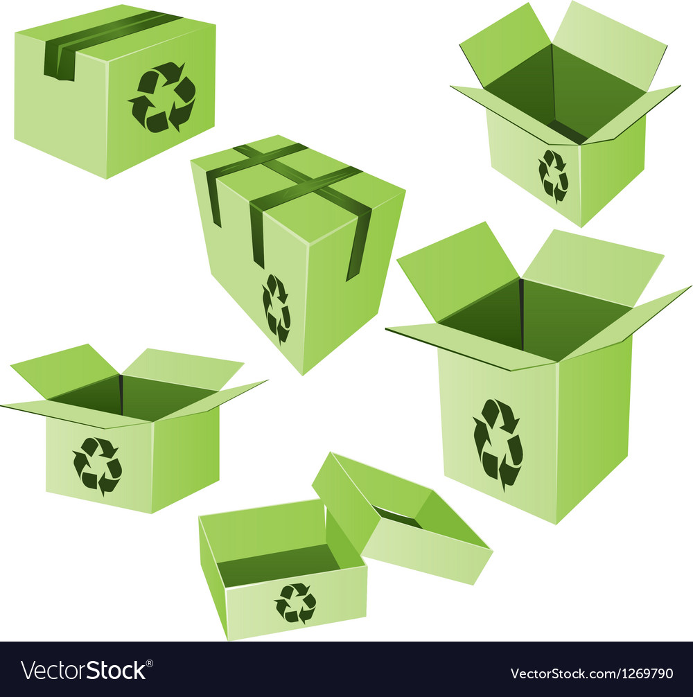 Green cardboards with recycle sign set vector | Price: 1 Credit (USD $1)
