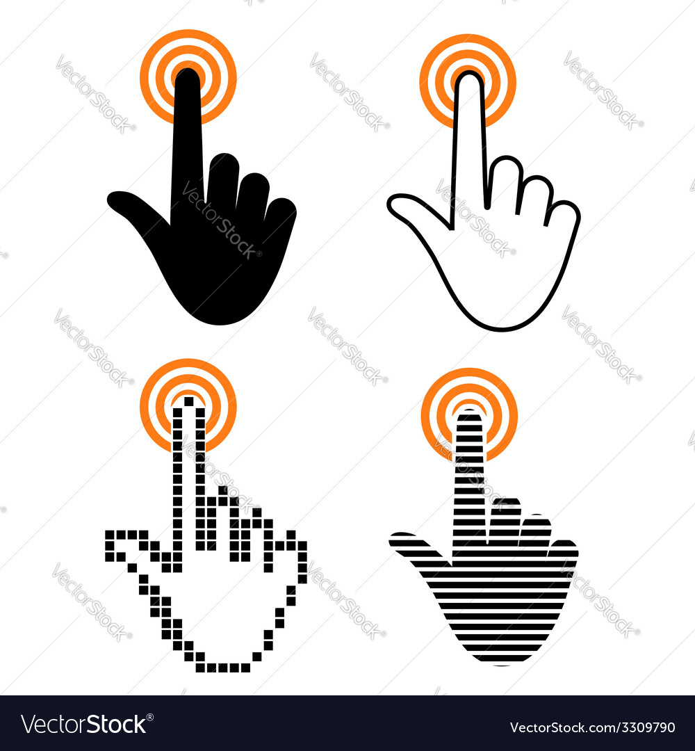 Hand with touching a button vector | Price: 1 Credit (USD $1)