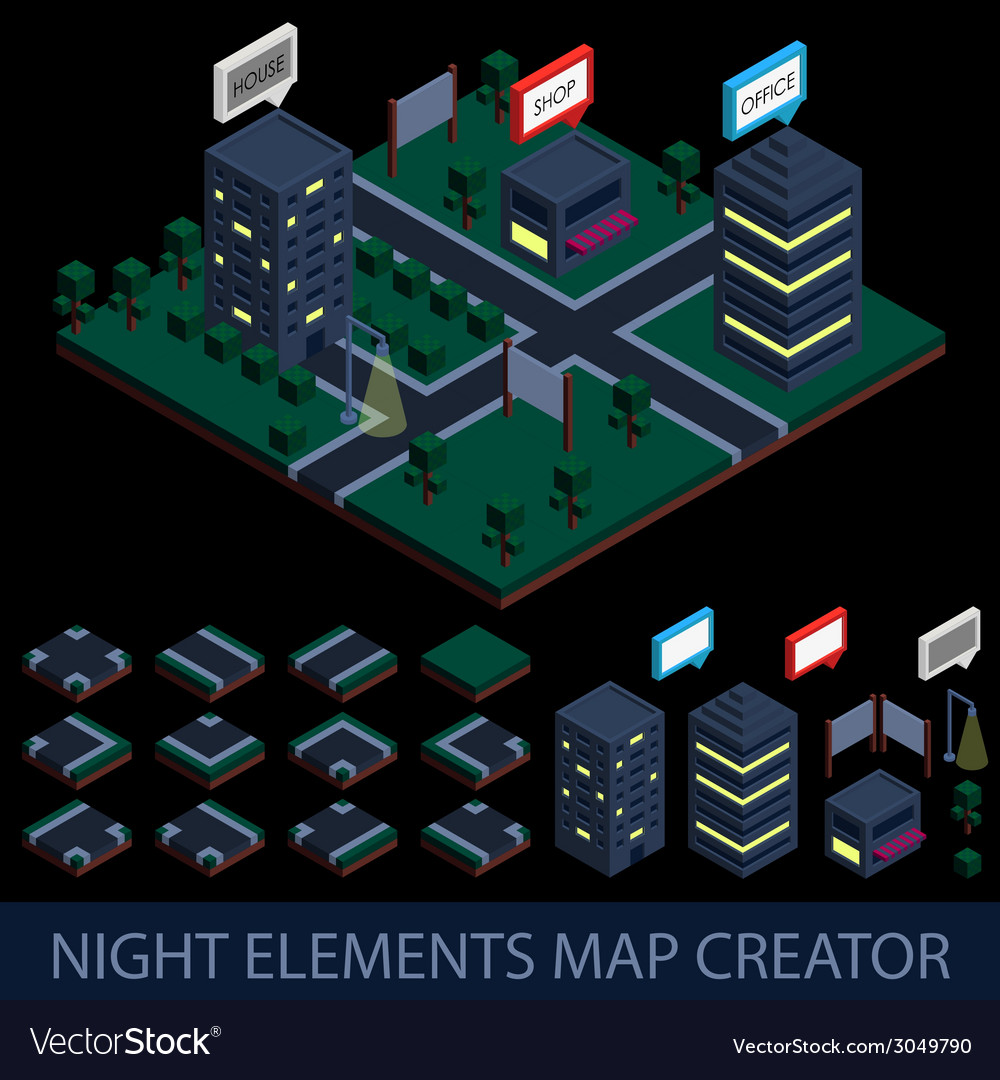 Isometric night elements map creator vector | Price: 1 Credit (USD $1)