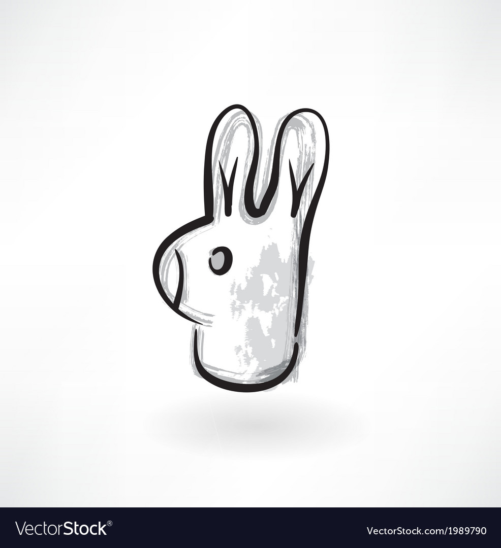 Rabbit head grunge icon vector | Price: 1 Credit (USD $1)