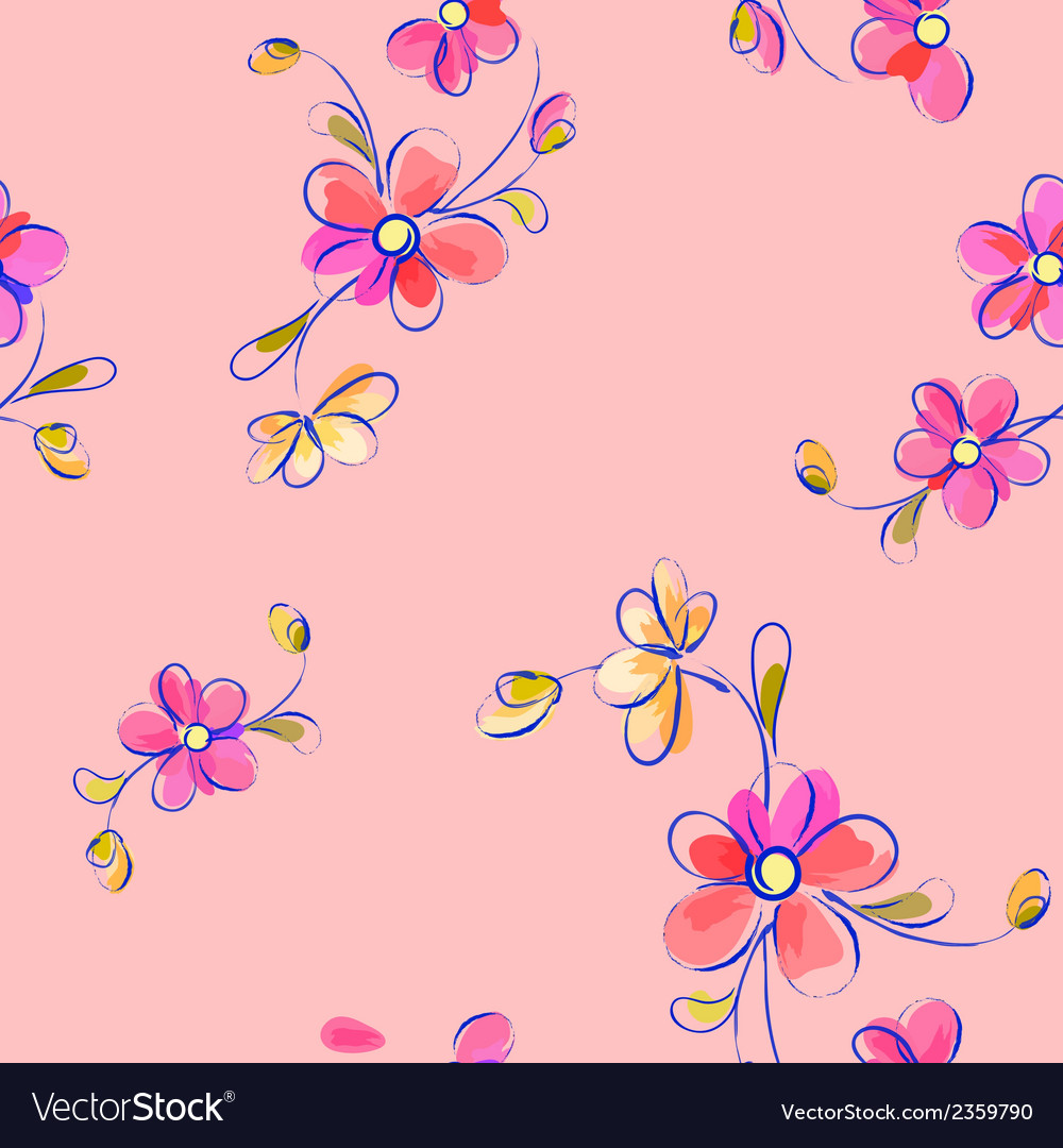 Seamless pink pattern with flowers vector | Price: 1 Credit (USD $1)