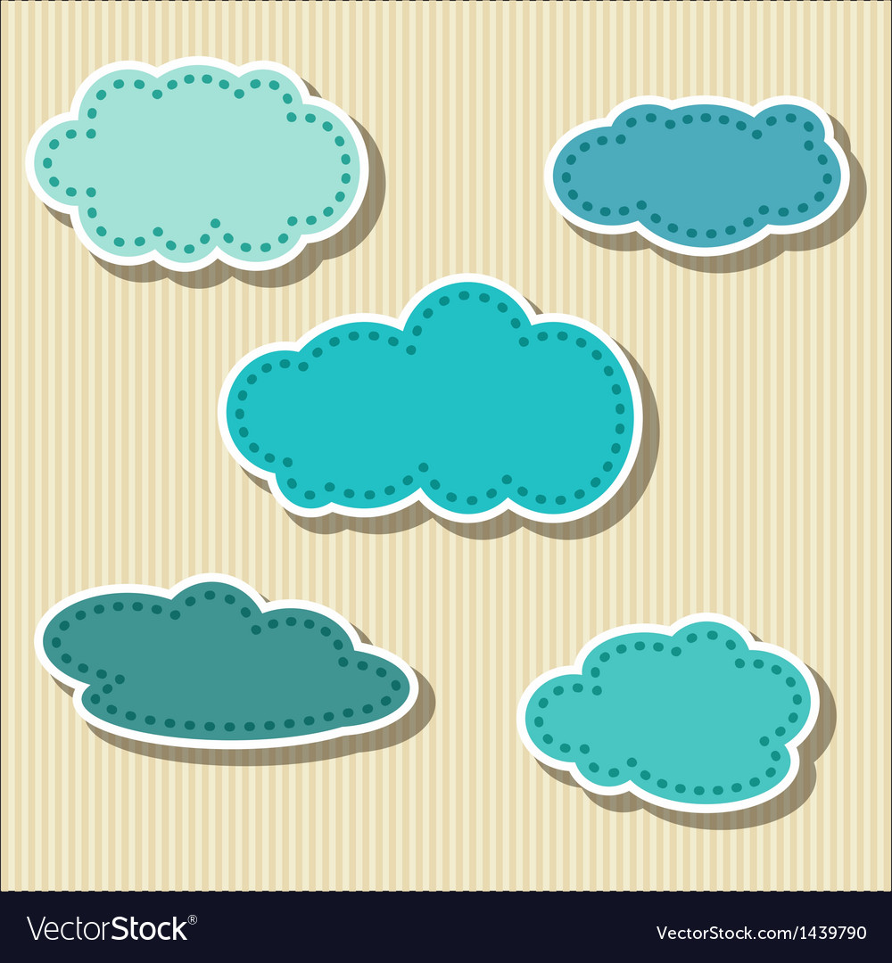 Set of cloud-shaped paper tags vector | Price: 1 Credit (USD $1)