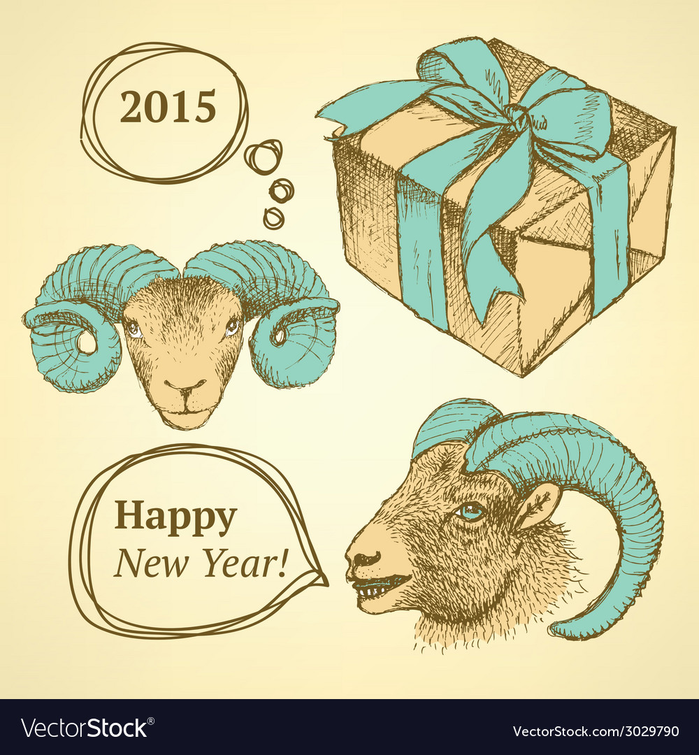 Sketch new year ram and present in vintage style vector | Price: 1 Credit (USD $1)