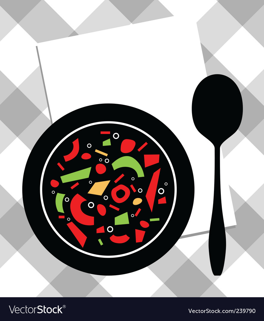 Soup on plate vector | Price: 1 Credit (USD $1)