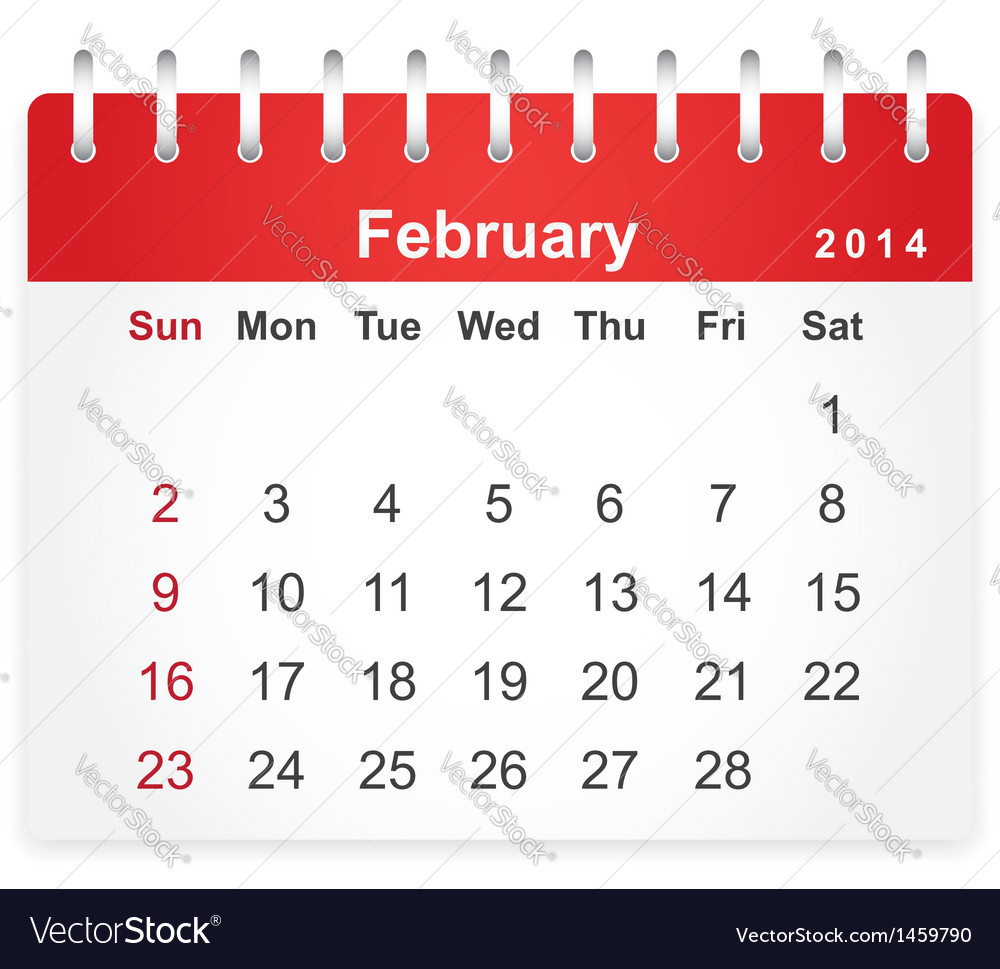 Stylish calendar page for february 2014 vector | Price: 1 Credit (USD $1)