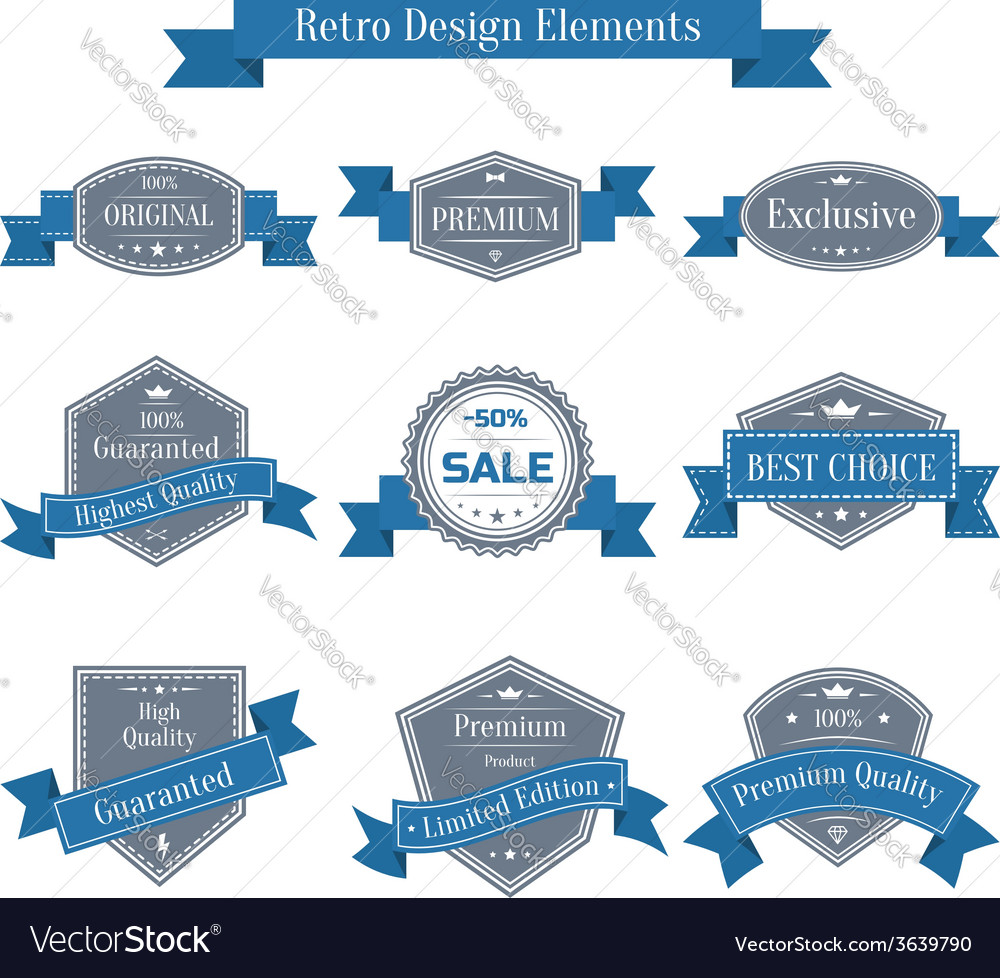 Vintage set of labels with ribbons vector | Price: 1 Credit (USD $1)