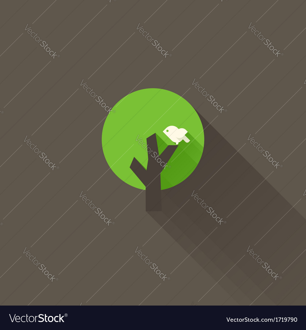 White bird and green tree on a brown background vector | Price: 1 Credit (USD $1)