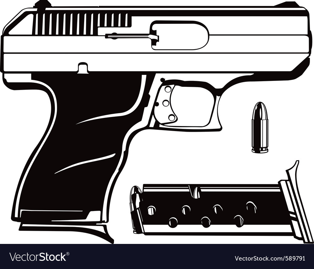 Black and white 9mm vector | Price: 1 Credit (USD $1)
