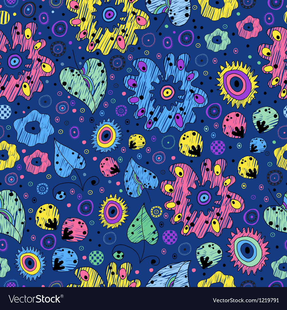 Bright seamless pattern on a blue background vector | Price: 1 Credit (USD $1)