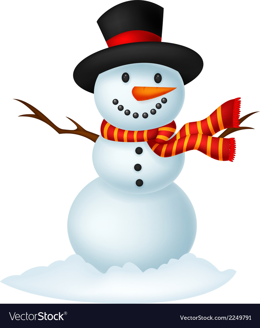 Christmas snowman cartoon wearing a hat and red sc vector | Price: 1 Credit (USD $1)
