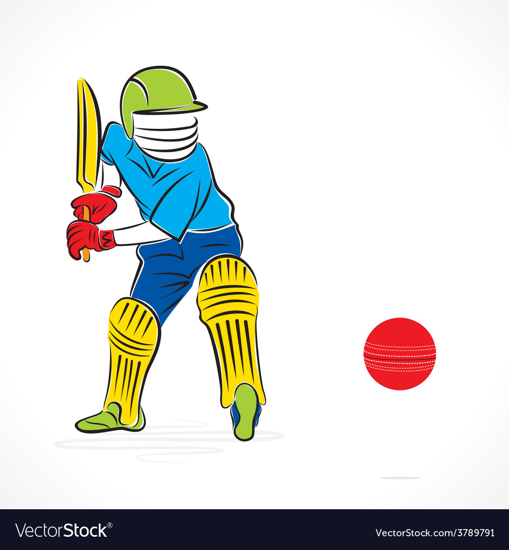 Cricket player ready to hit the ball design vector | Price: 1 Credit (USD $1)