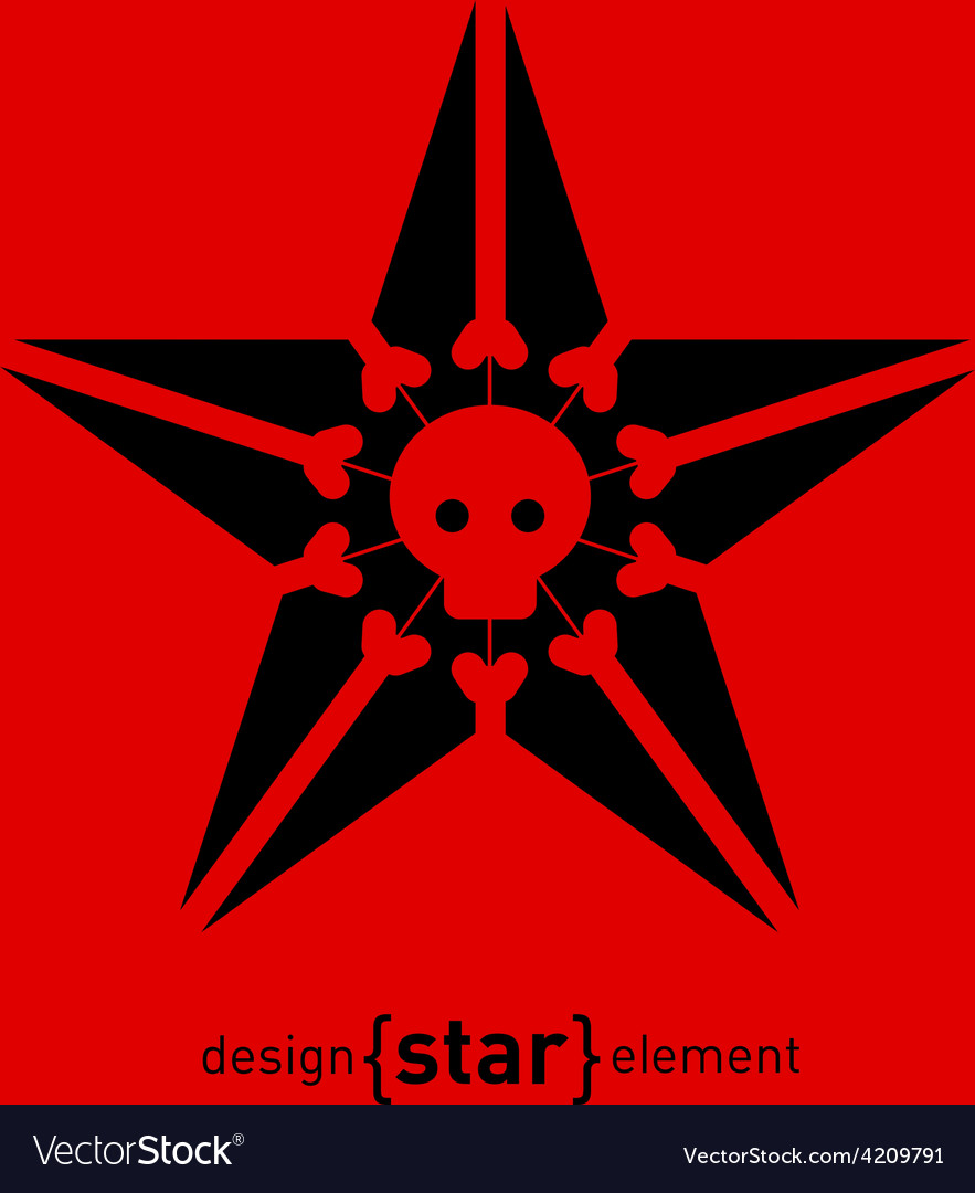 Design element star with skull and bones vector | Price: 1 Credit (USD $1)
