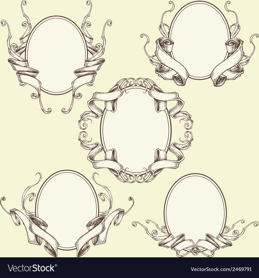 Ribbon frame border ornaments set 03 vector | Price: 1 Credit (USD $1)