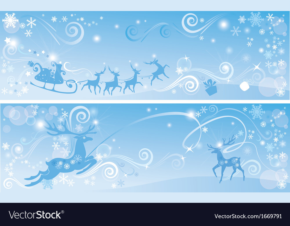 Set of christmas and new year horizontal banners vector | Price: 1 Credit (USD $1)