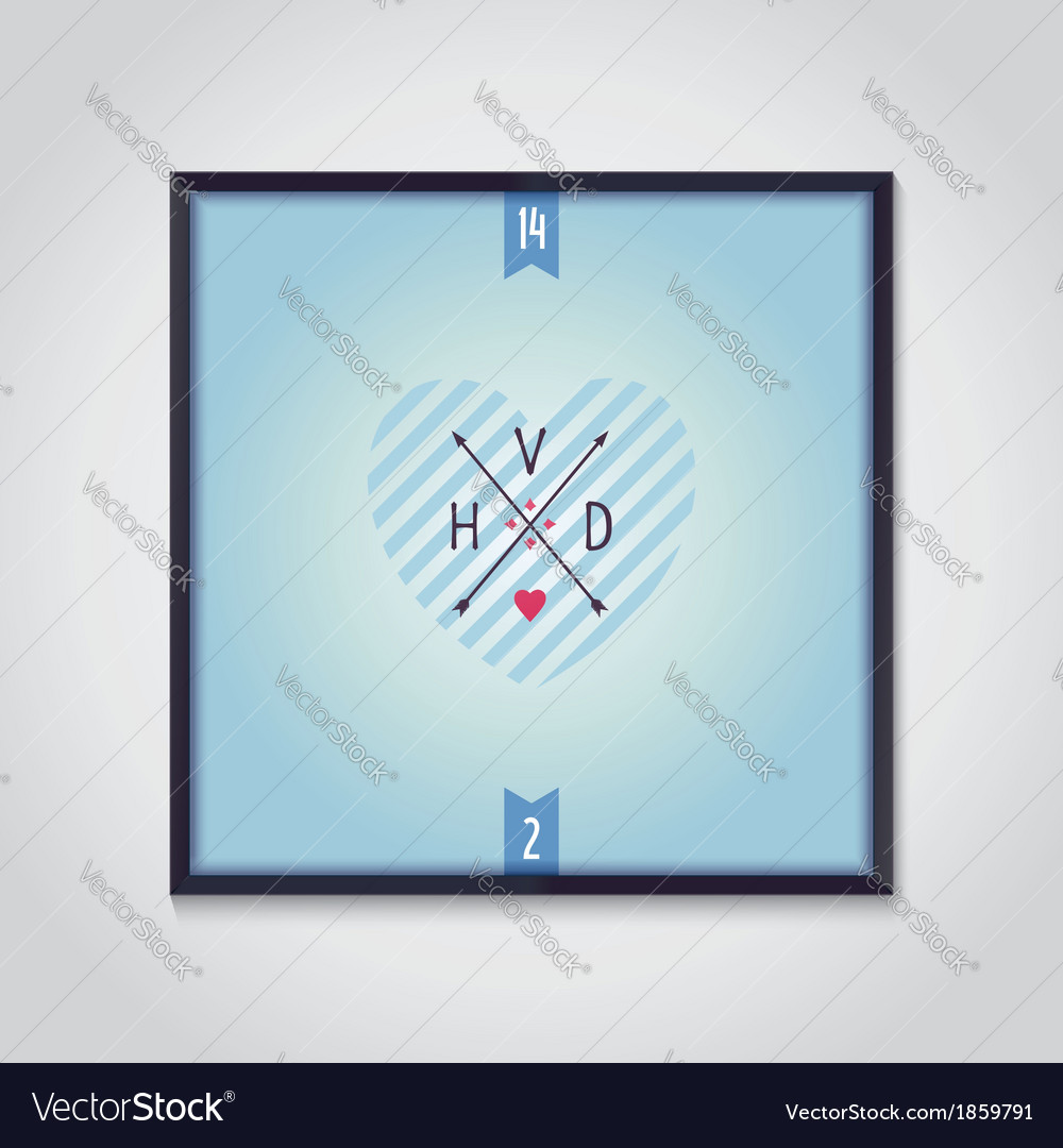 Sign of valentines day with arrows and heart vector | Price: 1 Credit (USD $1)