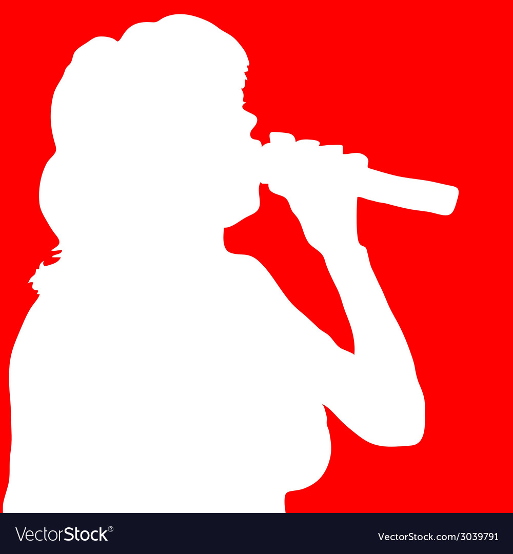 Singer woman white silhouette vector | Price: 1 Credit (USD $1)