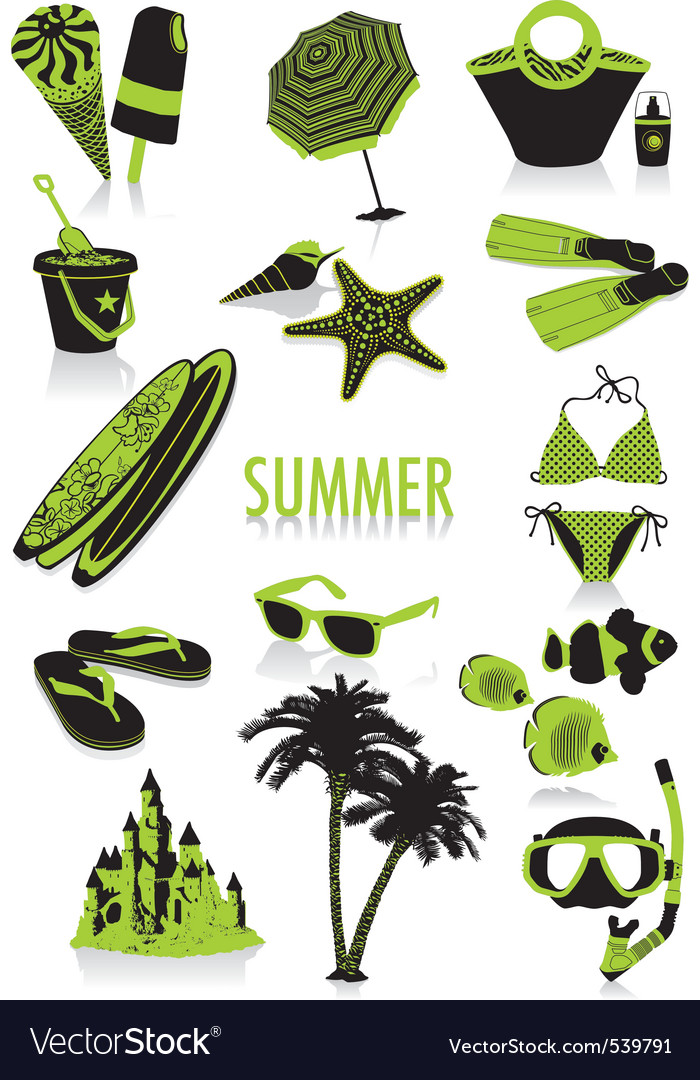 Summer silhouettes vector | Price: 1 Credit (USD $1)