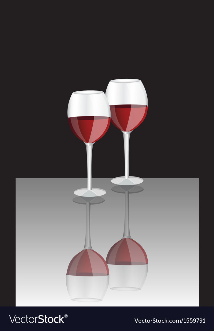 Two glasses of red wine vector | Price: 1 Credit (USD $1)