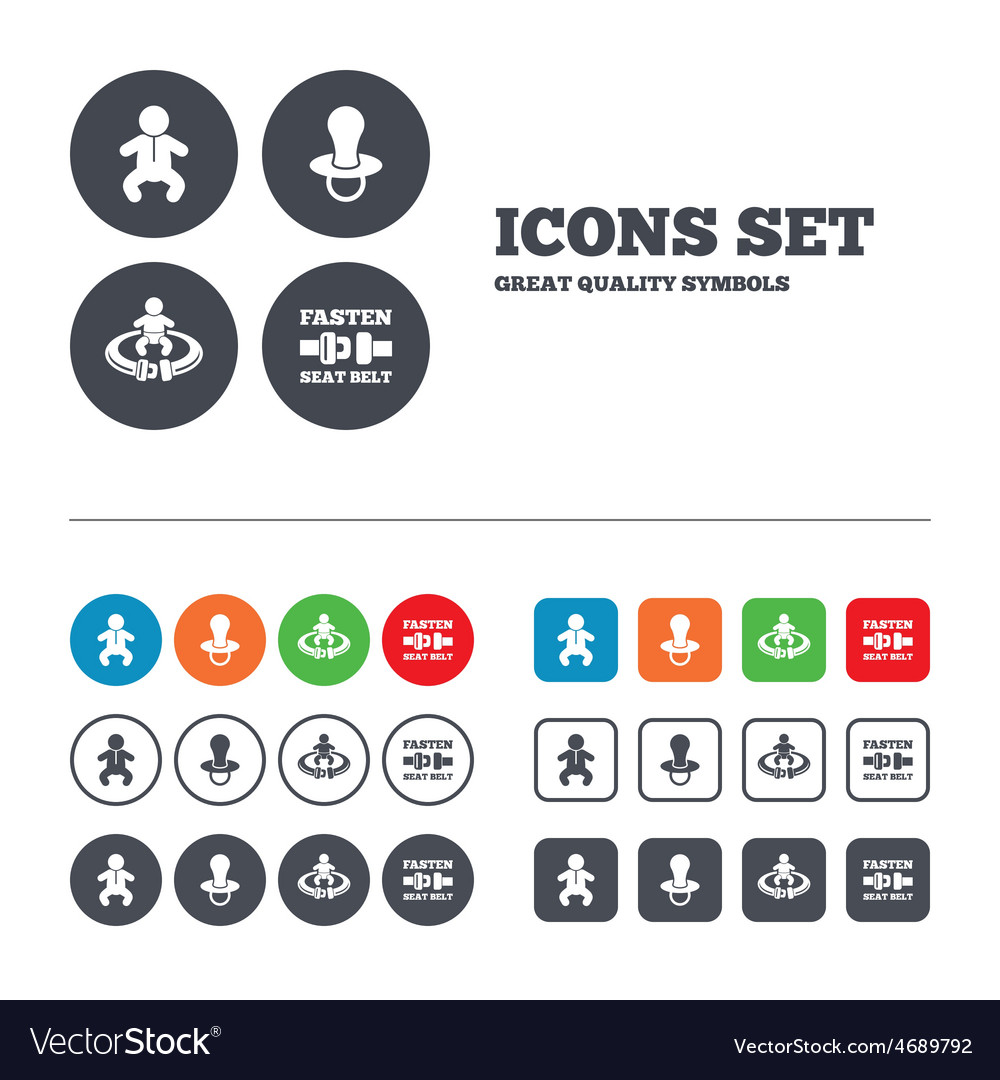 Baby infants icons fasten seat belt symbols vector | Price: 1 Credit (USD $1)