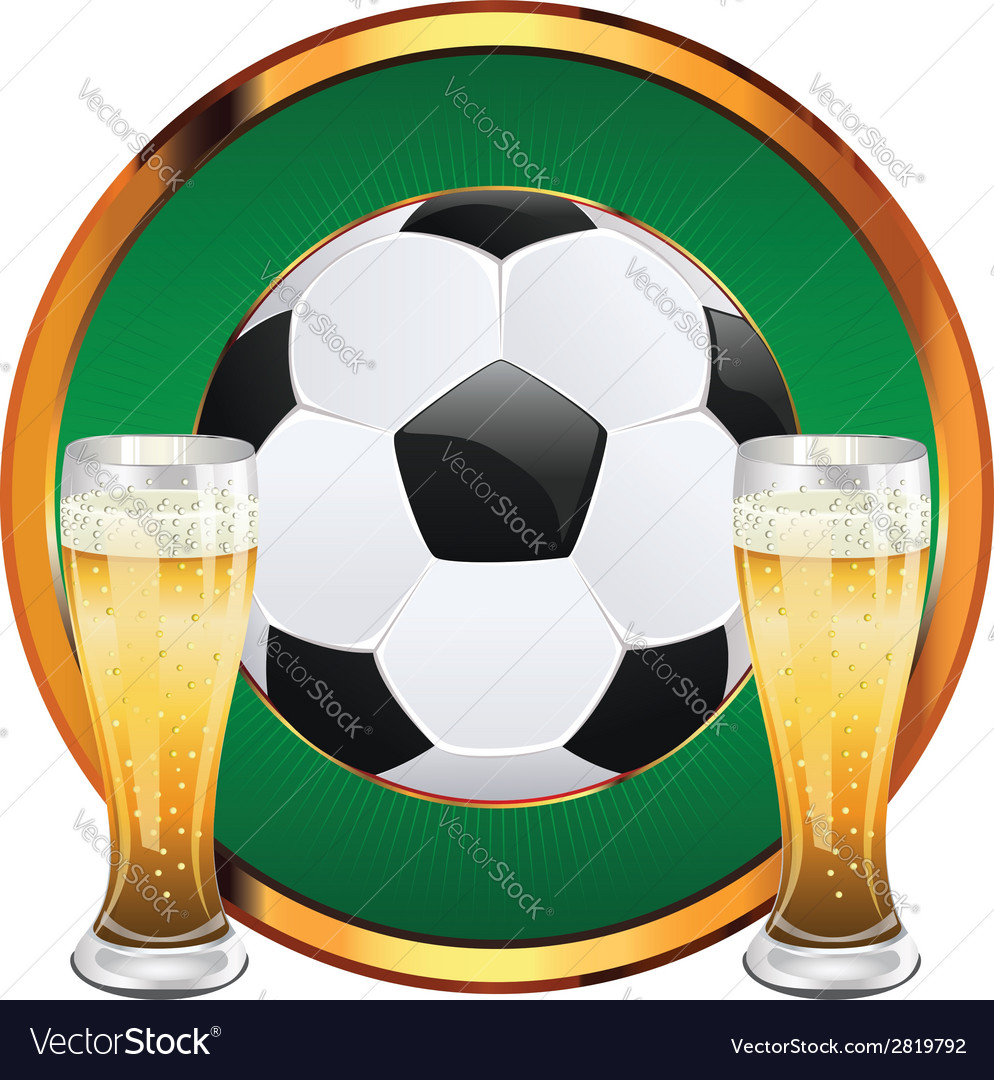 Beer and soccer ball6 vector | Price: 1 Credit (USD $1)