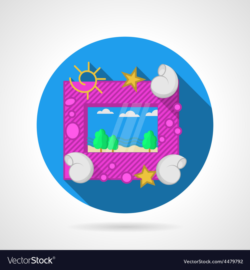 Blue flat icon for sea picture frame vector | Price: 1 Credit (USD $1)