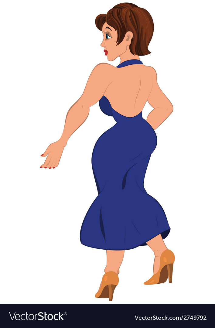 Cartoon woman in open back blue dress back view vector | Price: 1 Credit (USD $1)