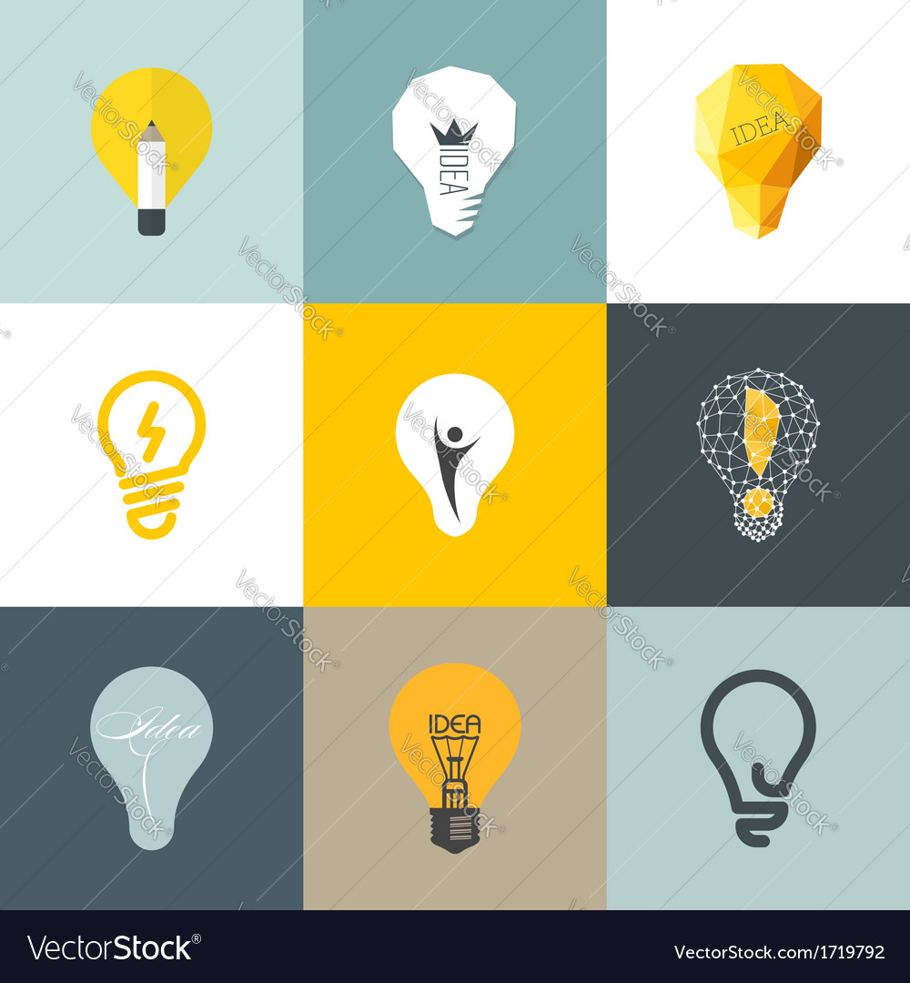 Creative light bulb set of design elements vector | Price: 1 Credit (USD $1)