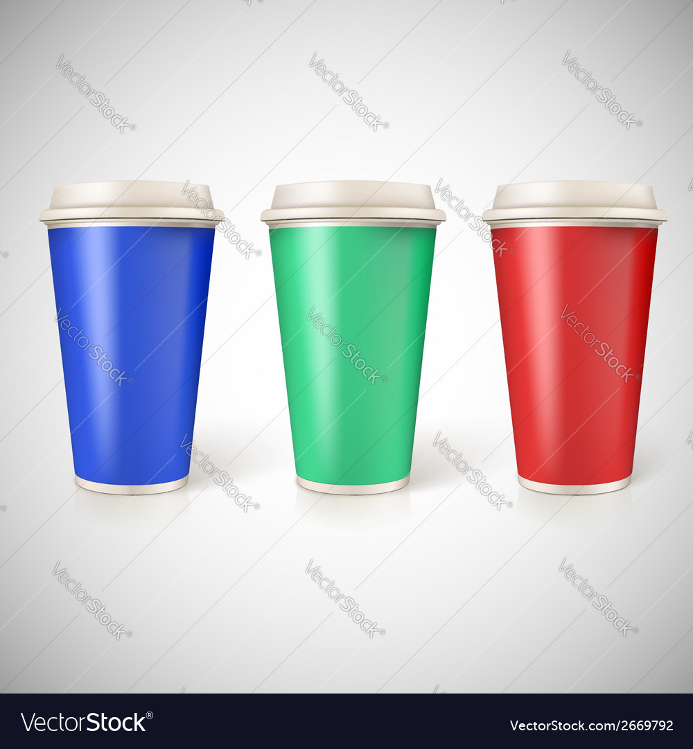 Disposable cups for coffee closeup with vector | Price: 1 Credit (USD $1)