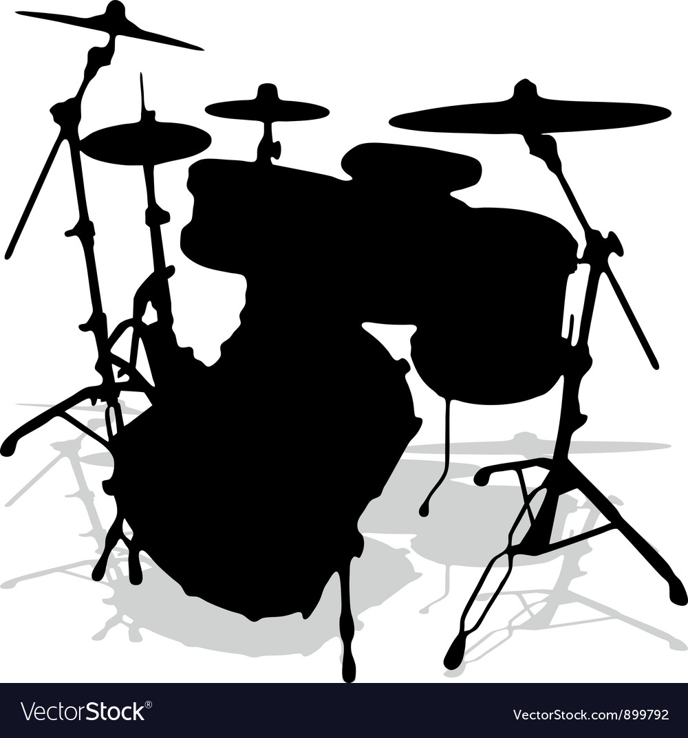 Drum silhouettes music instrument vector | Price: 1 Credit (USD $1)