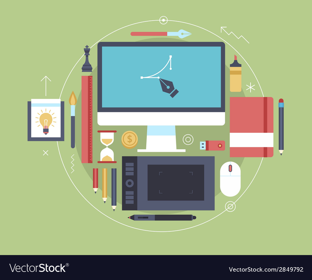 Flat design of modern creative designer workspace vector | Price: 1 Credit (USD $1)