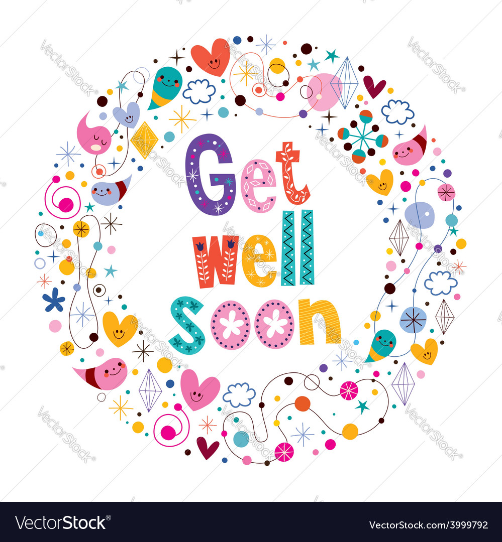 Get well soon card 3 vector | Price: 1 Credit (USD $1)