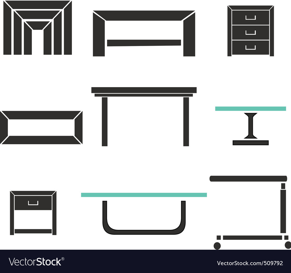 Modern tables set vector | Price: 1 Credit (USD $1)