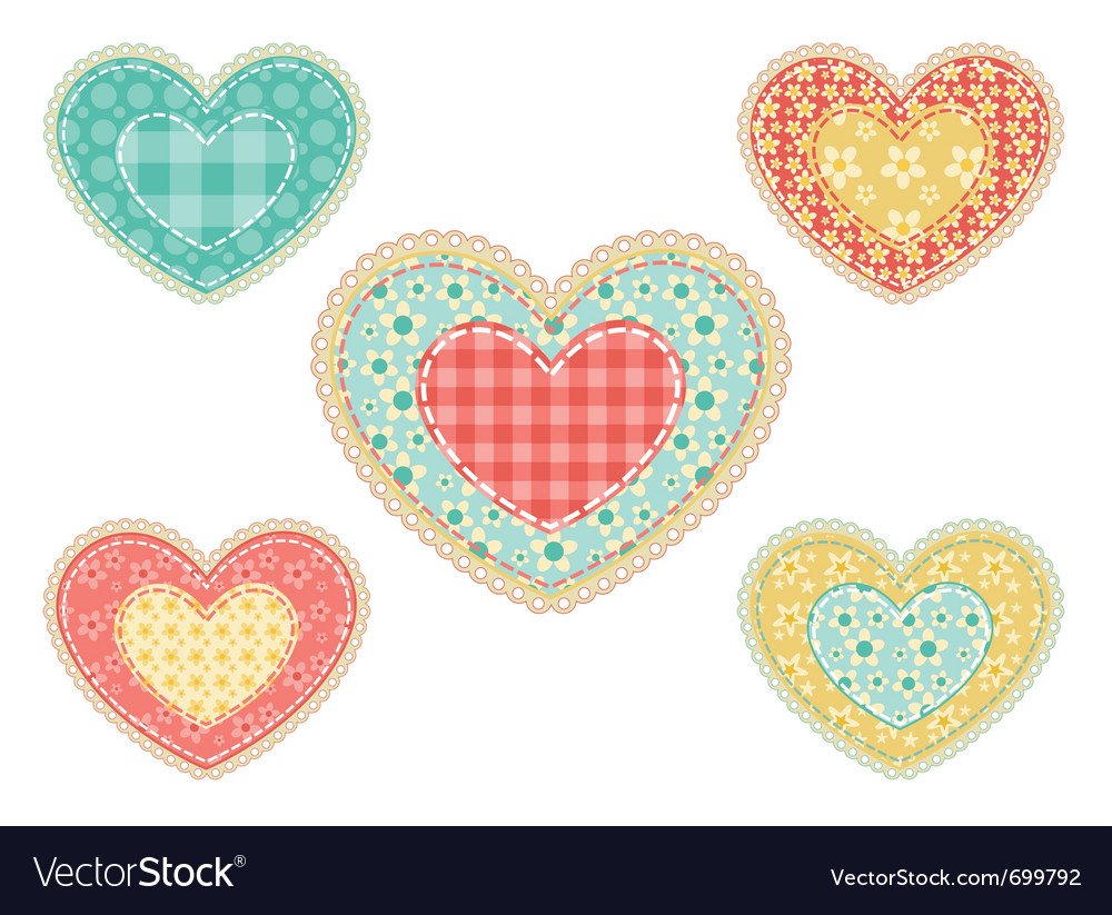 Set of patchwork hearts vector | Price: 1 Credit (USD $1)