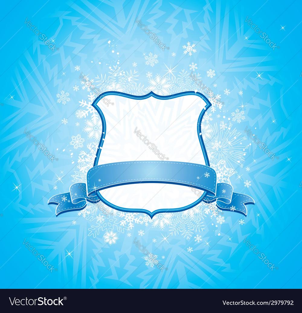 Shield blue ribbon and decorative snowflakes vector | Price: 1 Credit (USD $1)