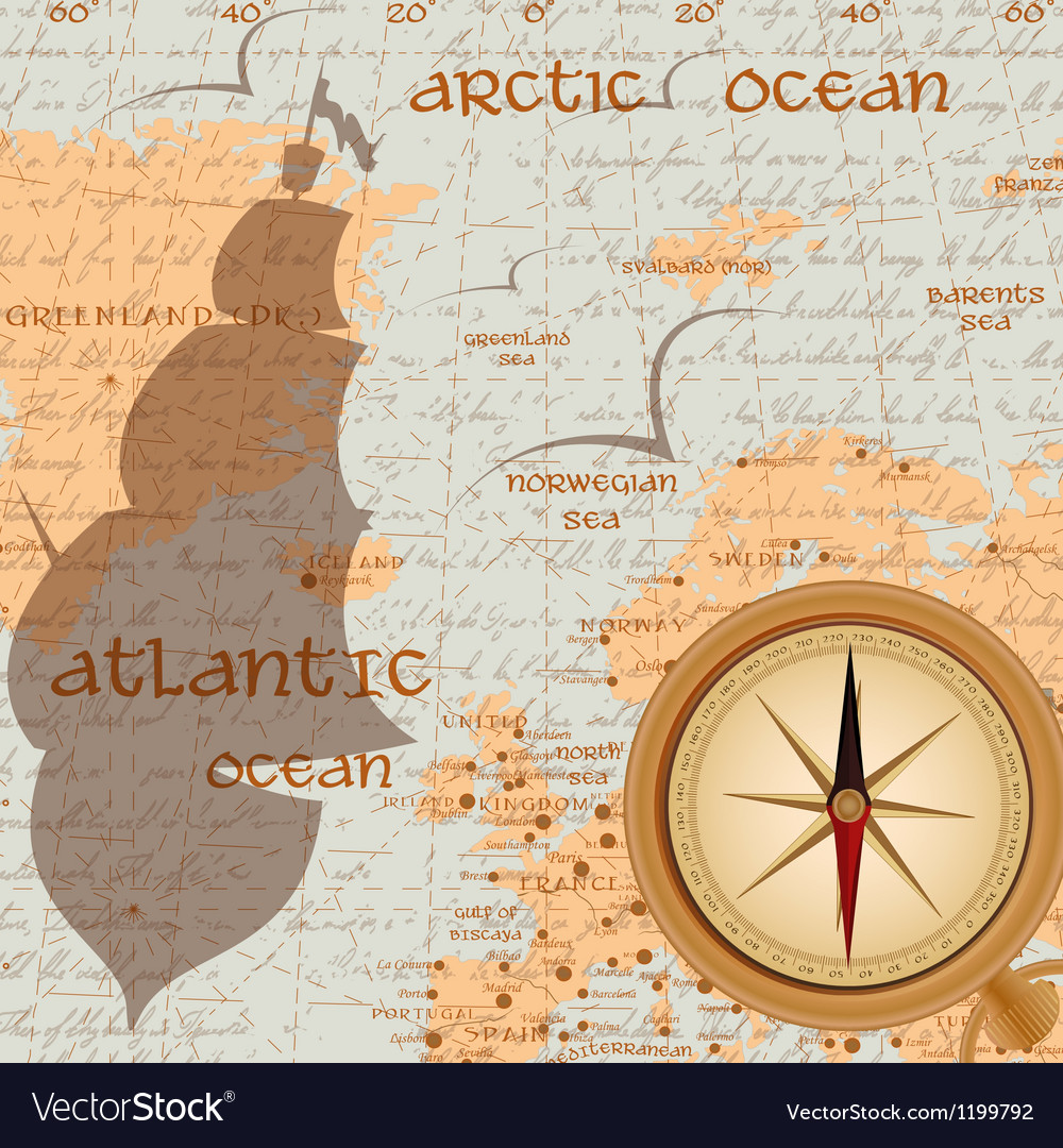 Vintage travel background with antique compass vector | Price: 1 Credit (USD $1)