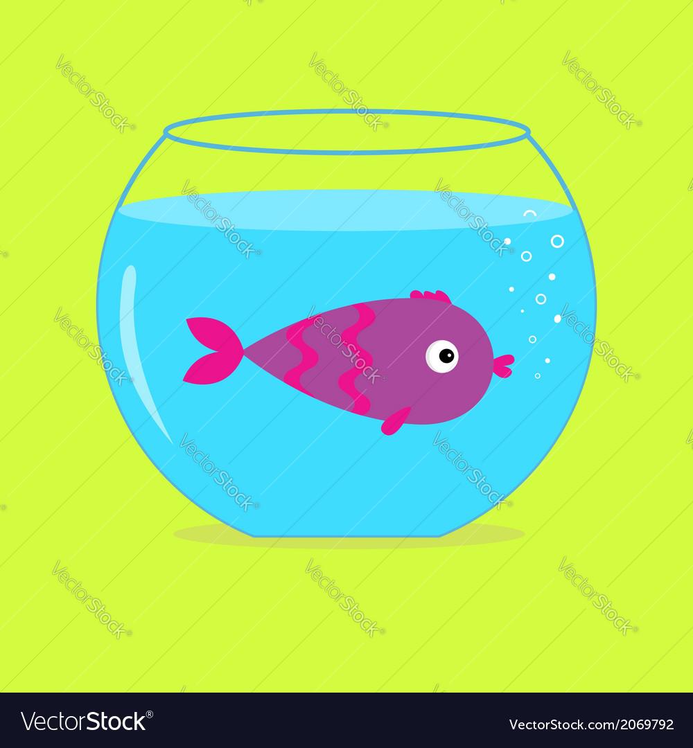 Violet fish in the aquarium card vector | Price: 1 Credit (USD $1)