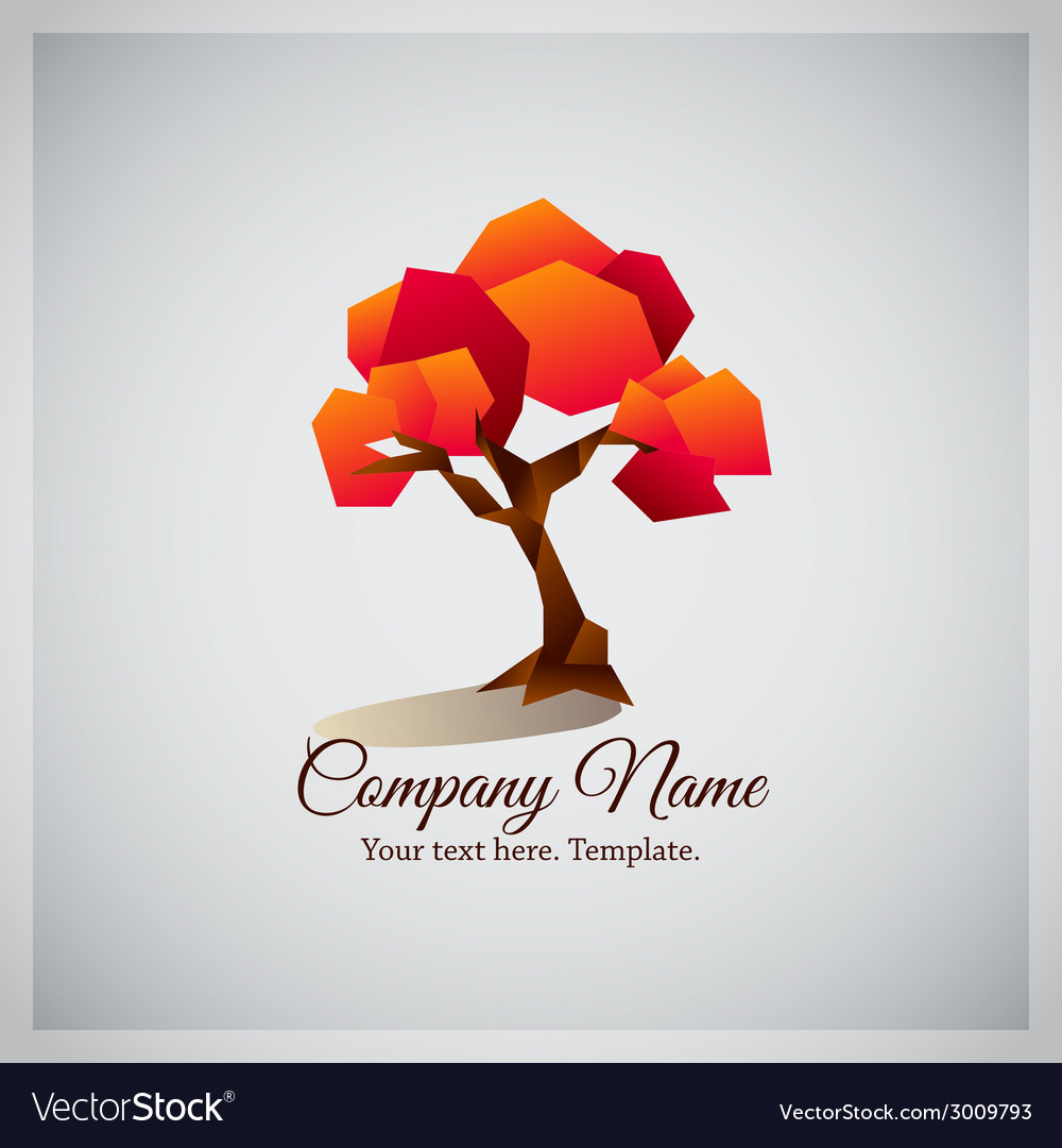 Company business logo with geometric red tree vector | Price: 1 Credit (USD $1)
