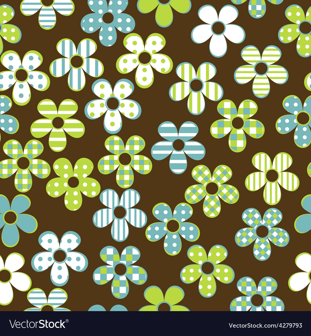 Floral seamless with patterned flowers vector | Price: 1 Credit (USD $1)