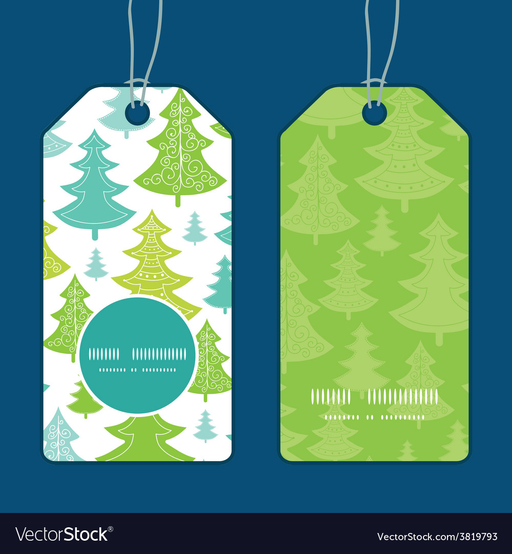 Holiday christmas trees vertical round vector | Price: 1 Credit (USD $1)