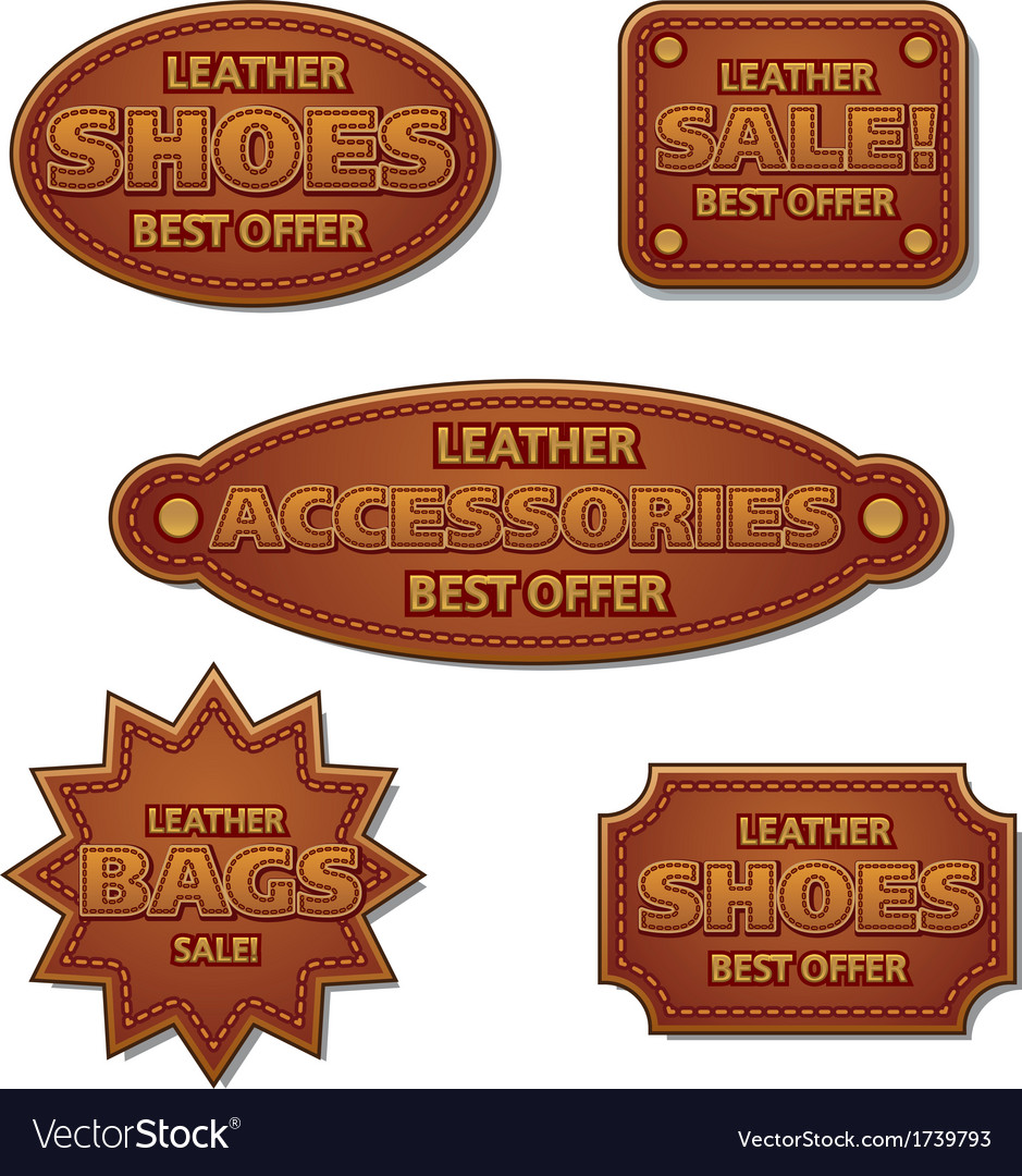 Leather sale badges vector | Price: 1 Credit (USD $1)