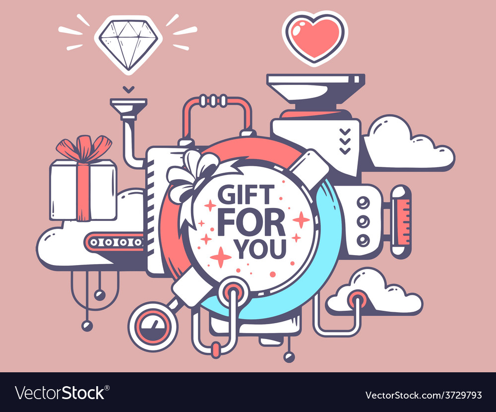 Mechanism to make gift and relevant icons vector | Price: 1 Credit (USD $1)