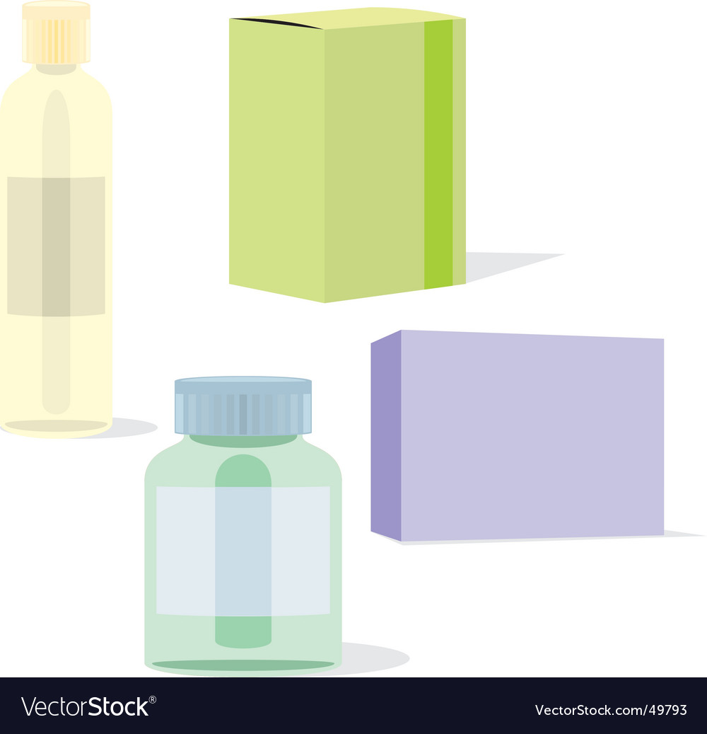 Painkillers bottles and boxes vector | Price: 1 Credit (USD $1)